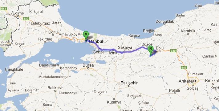 İstanbul Abant arası yaklaşık 277 Km'dir